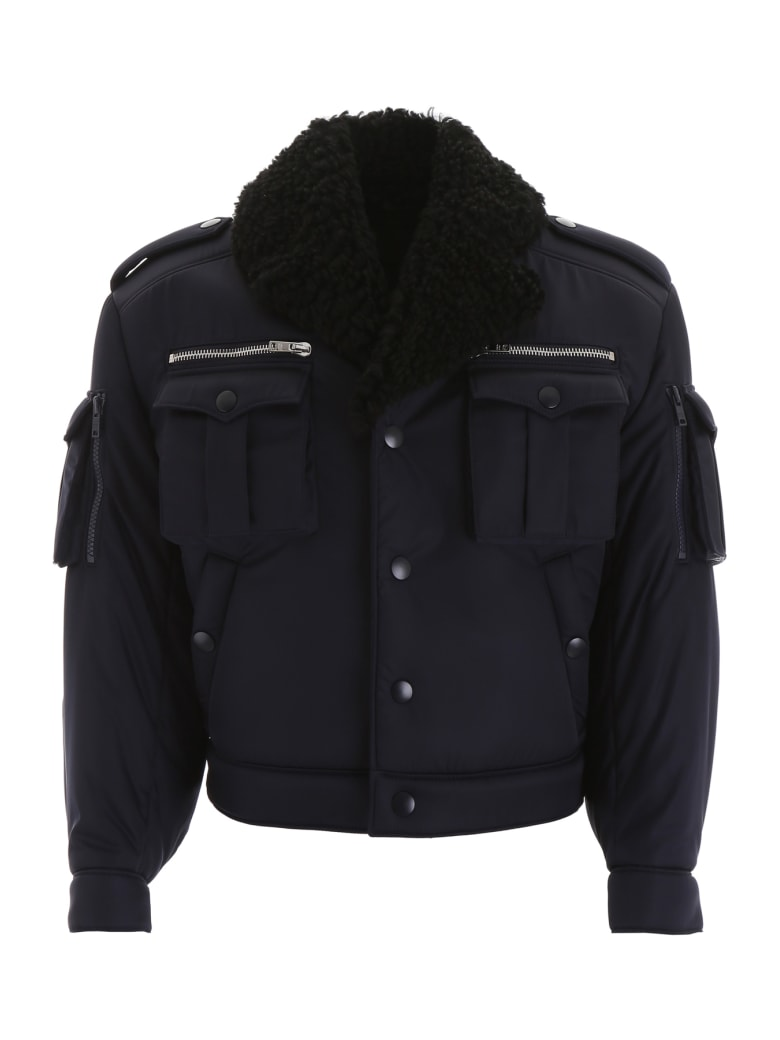 best prices online store outlet on sale Best price on the market at italist | Prada Prada Bomber Jacket With  Shearling