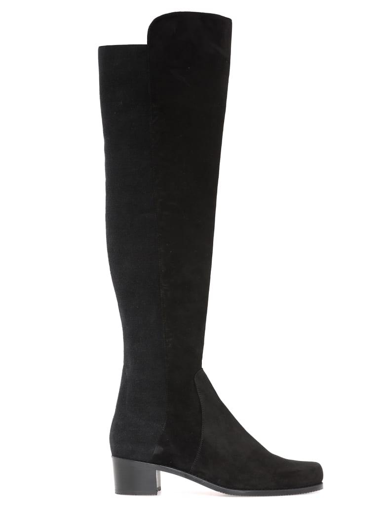 Stuart Weitzman Leather Cuissard Boots - BLACK