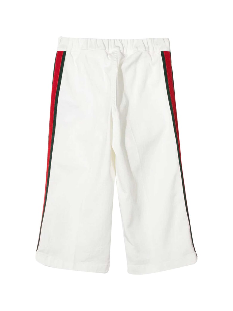 Gucci White Trousers With Side Band - Bianco