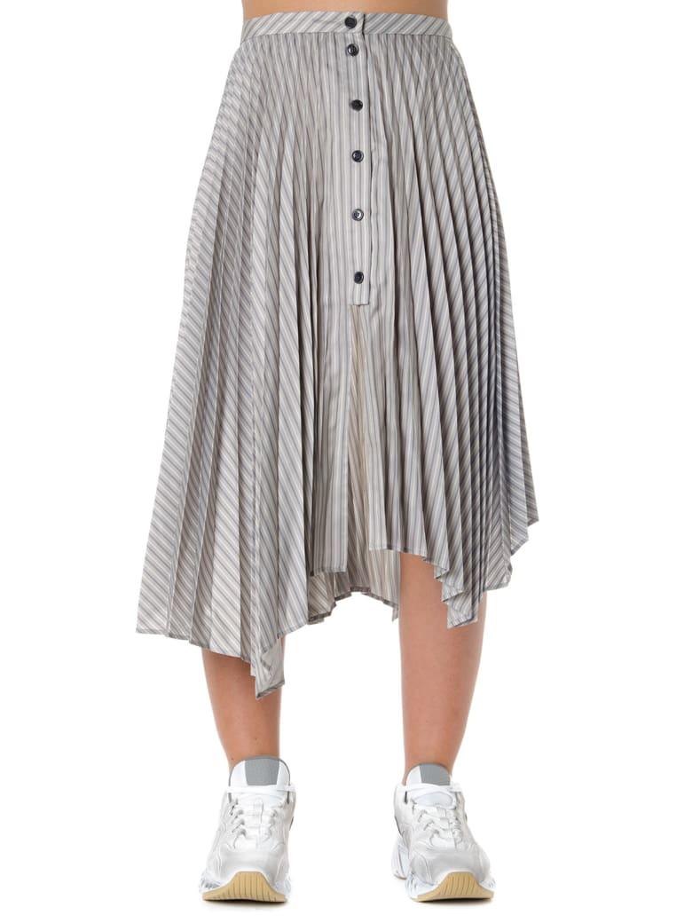 Acne Studios Stiped Motif Asymmetrical Pleated Skirt - Grey