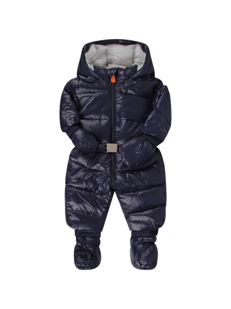 Save the Duck Blue Babyboy Puff Overall With Iconic Logo - Blue