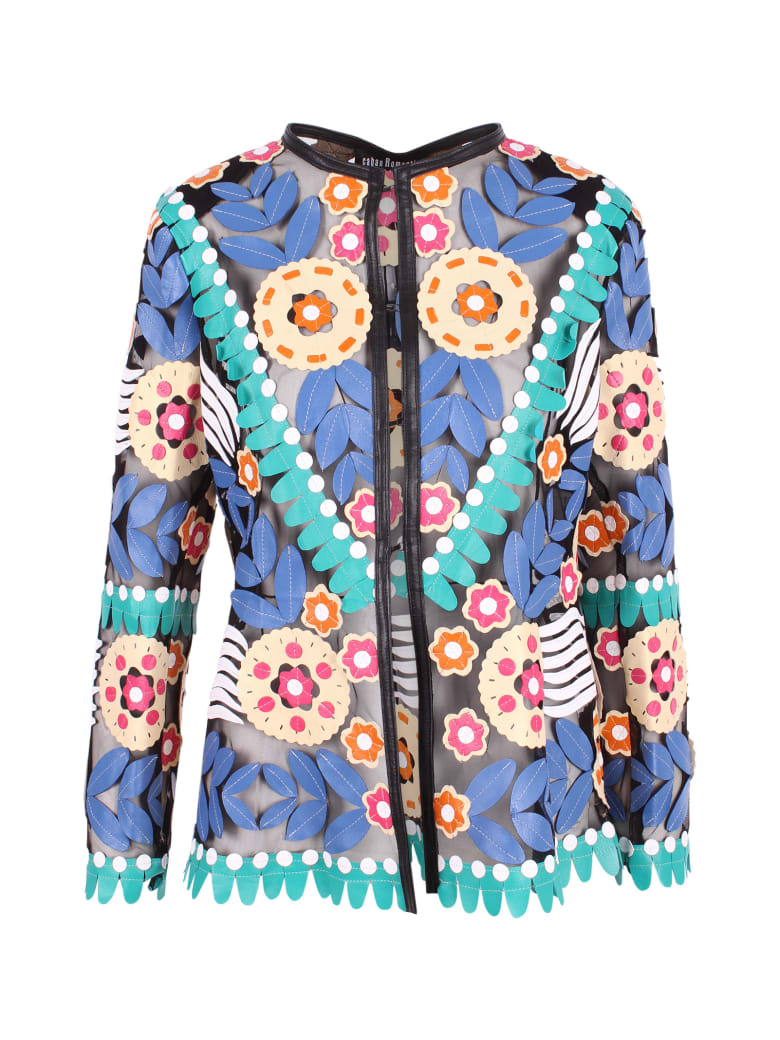 Caban Romantic Leather Jacket - Etnic Blue
