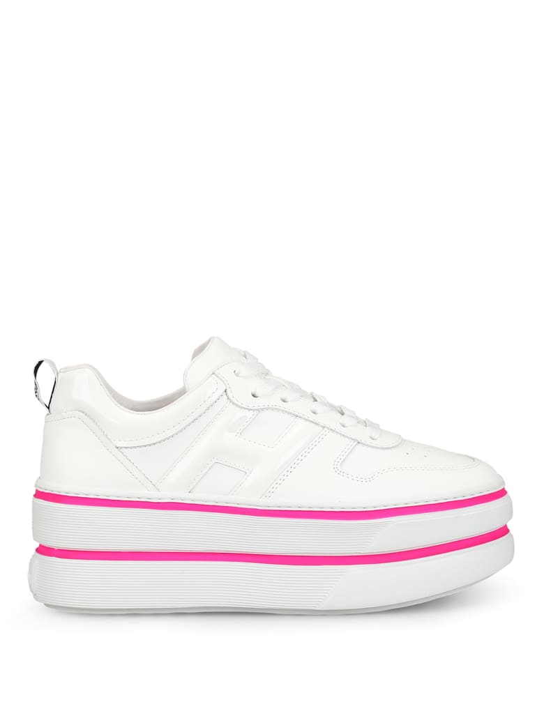 Hogan H449 Oversized White Leather Sneakers - White