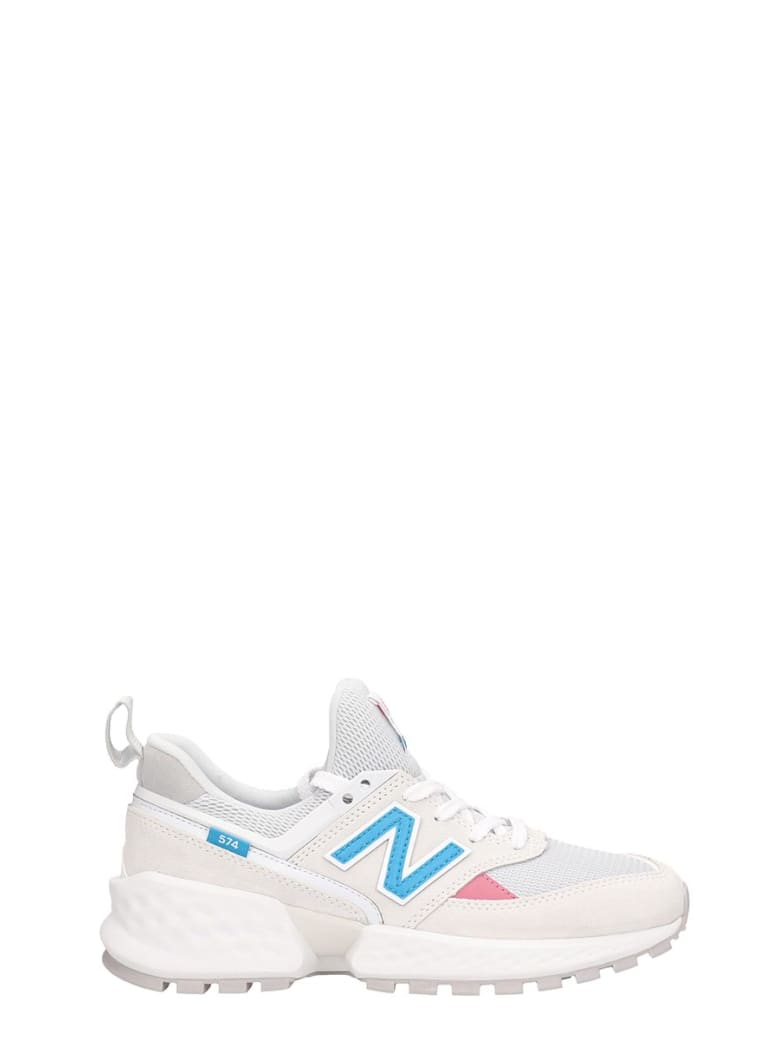 New Balance White Leather 574 Sneakers - white