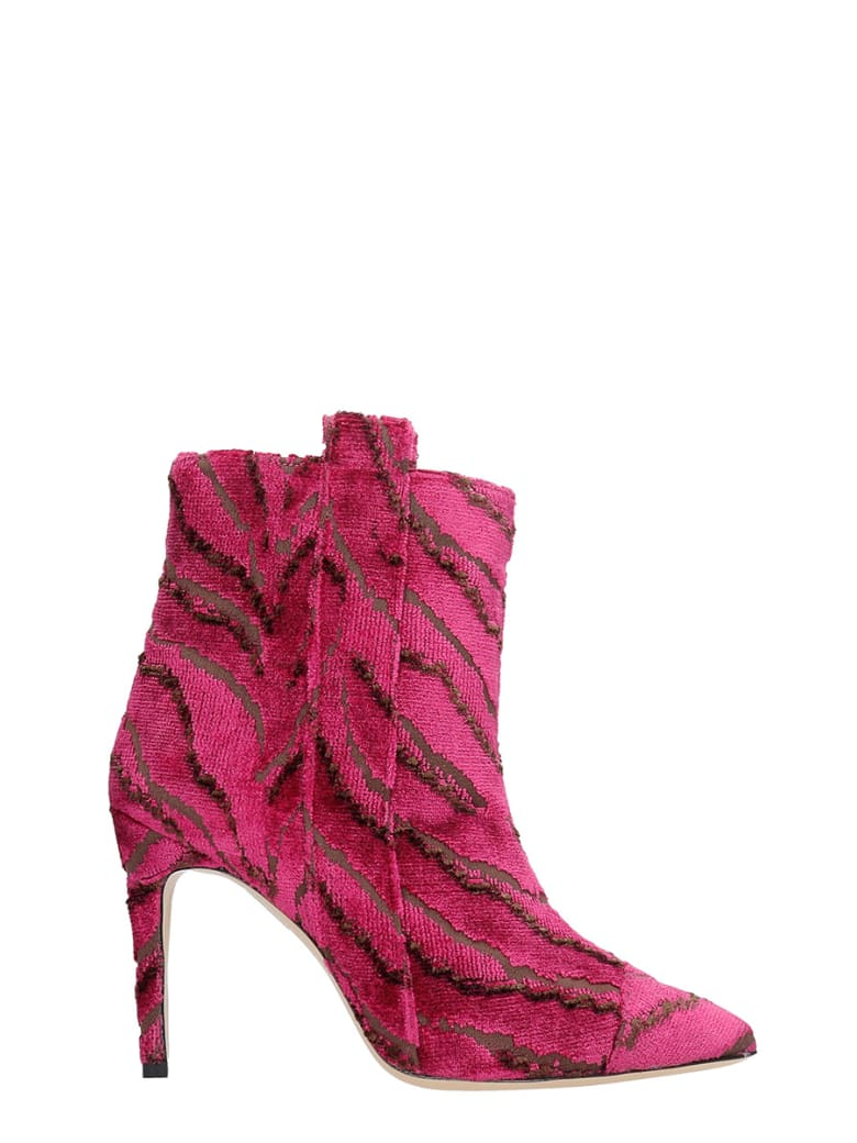 Bams High Heels Ankle Boots In Fuxia Fabric - fuxia