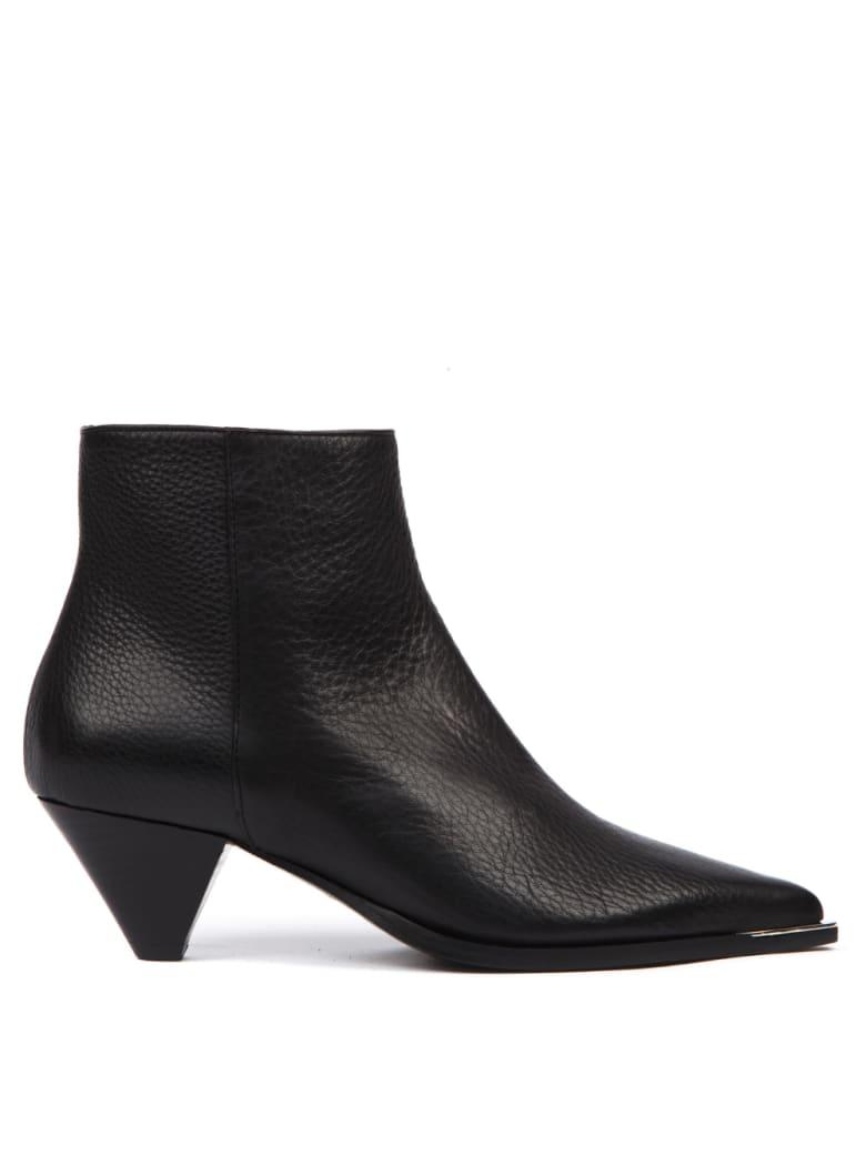 Aldo Castagna Black Hammered Leather Ankle Boot - Black