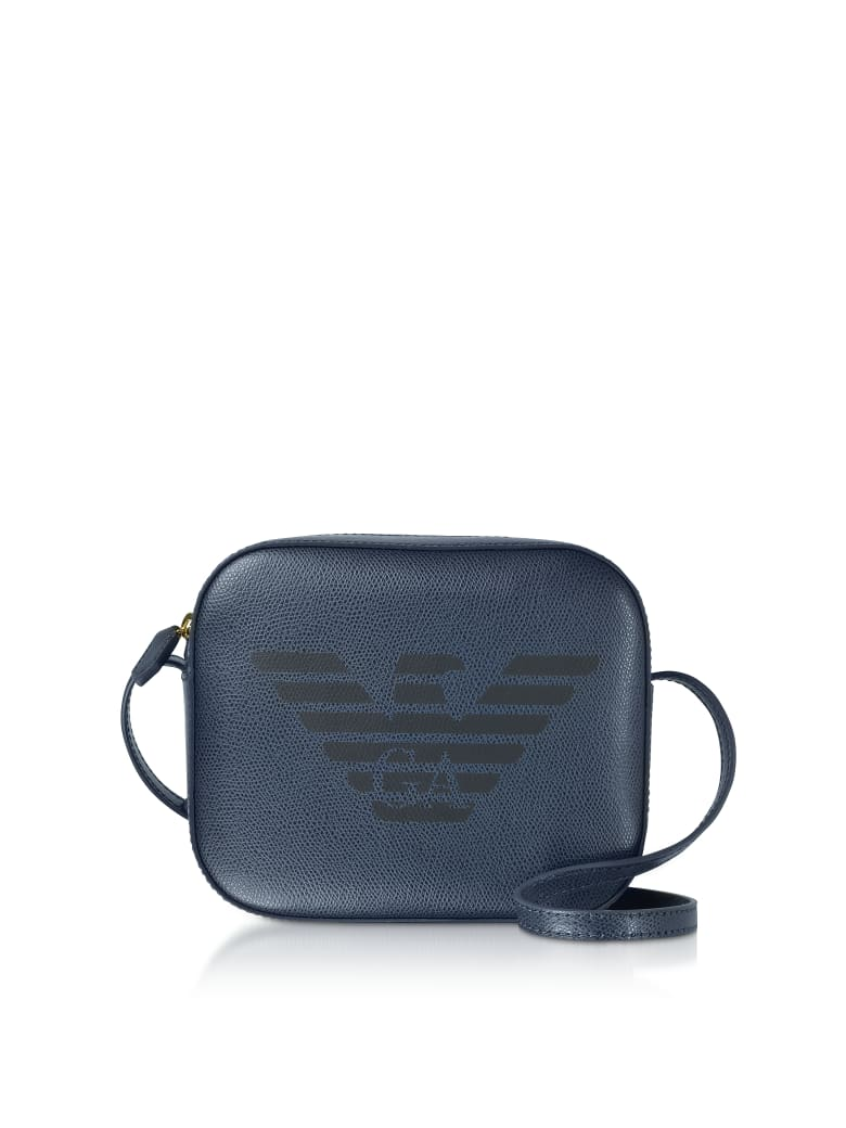 Emporio Armani Eagle Embossed Shoulder Bag - Blue