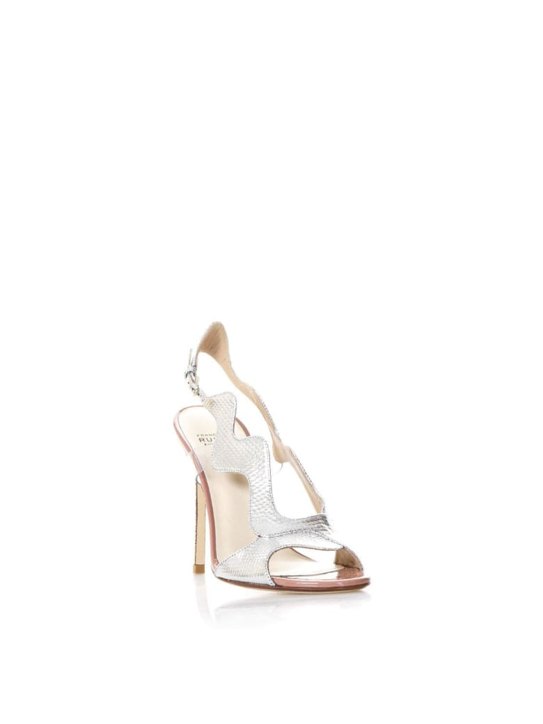 Francesco Russo Silver Waves Sandals In Leather - Silver