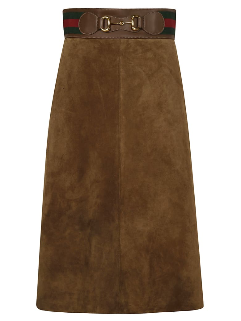 Gucci Back Zip Skirt - Brown