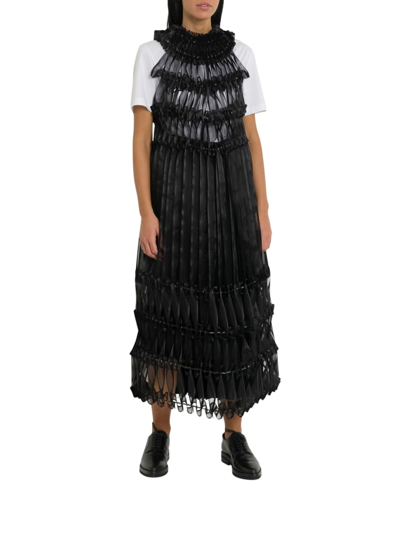 Noir Kei Ninomiya Pleated Ribbon-detail Crepe Midi Dress - Nero