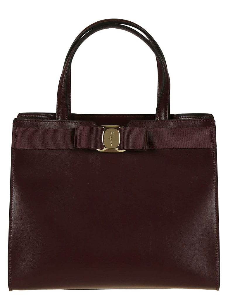 Salvatore Ferragamo Bow Detail Tote - Burgundy