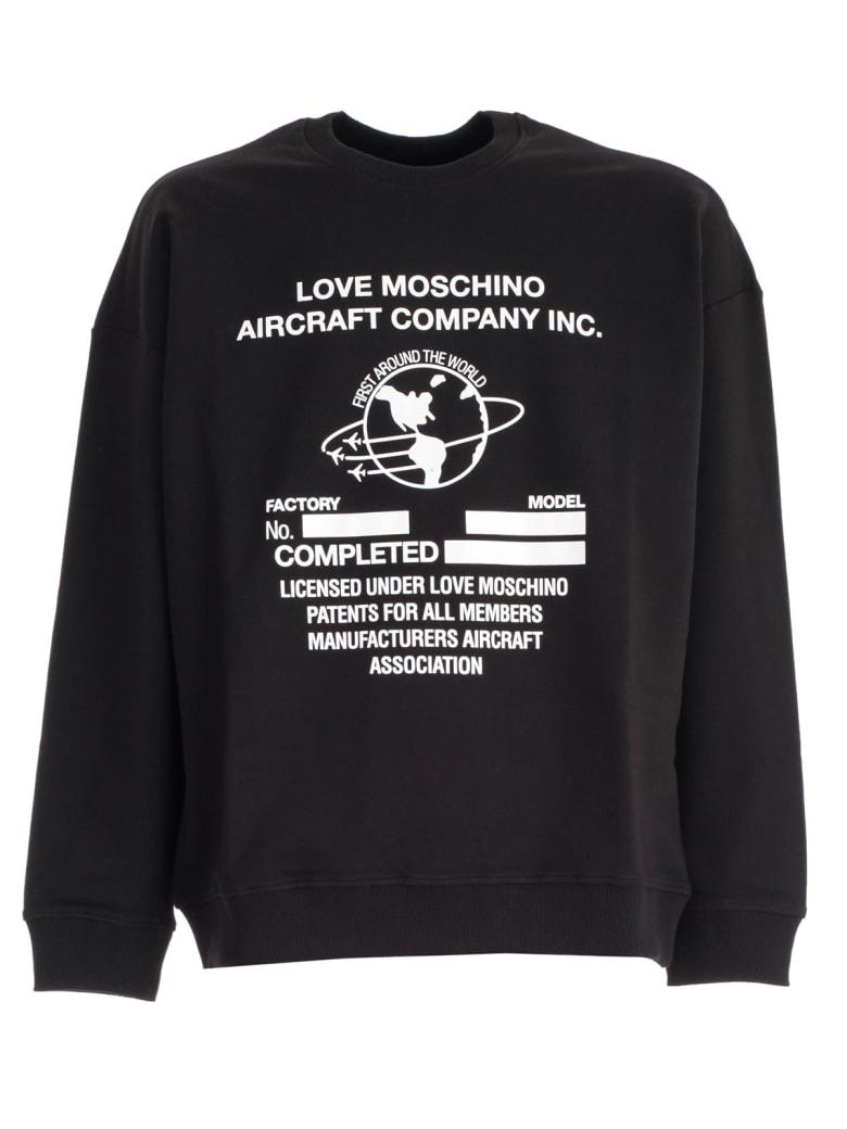 Love Moschino Sweatshirt W/aircraft - Black