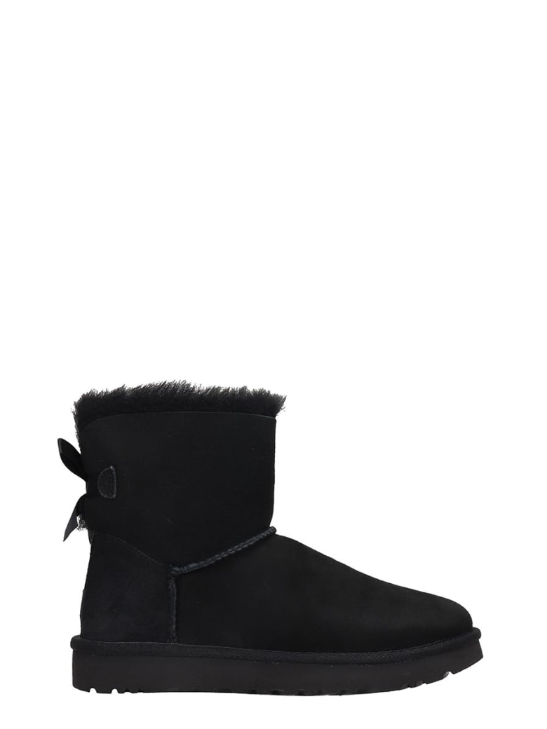 UGG Low Heels Ankle Boots In Black Suede - black