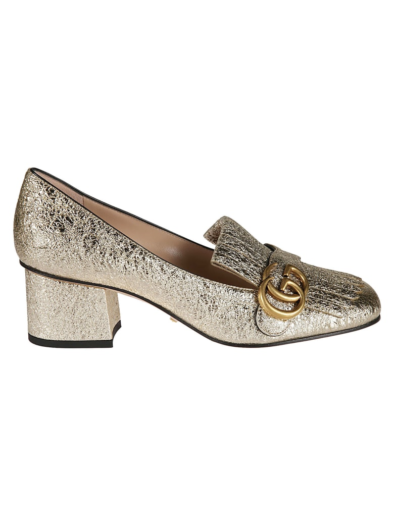 Gucci Double G Tasseled Metallic Pumps - Gold