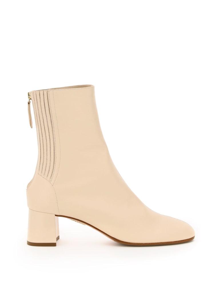 Aquazzura Saint Honore' 50 Ankle Boots - CREAM (Beige)