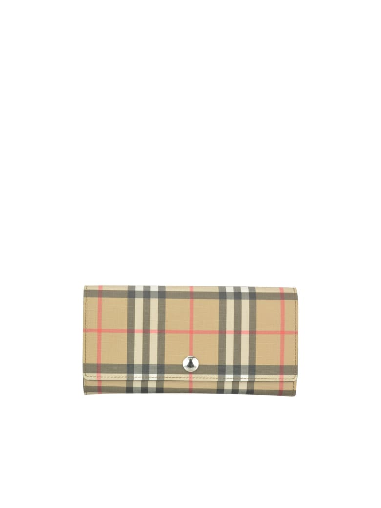 Burberry Vintage Check Motif Wallet - Beige