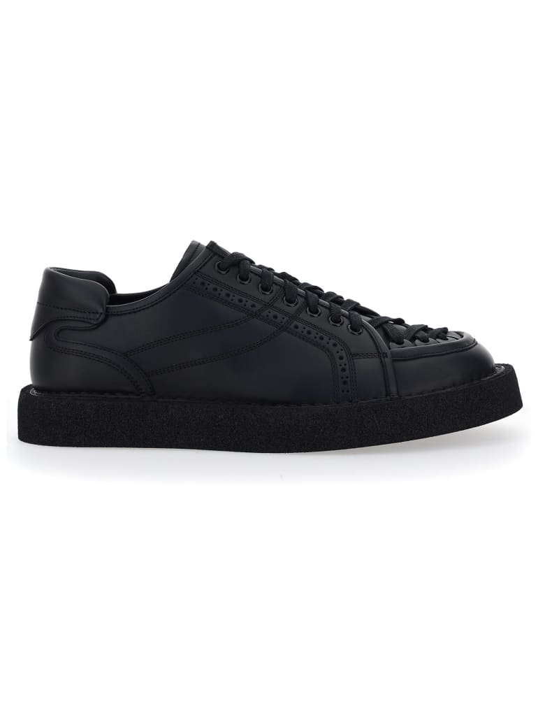 Dolce & Gabbana Lace-up Leather Sneakers - Nero