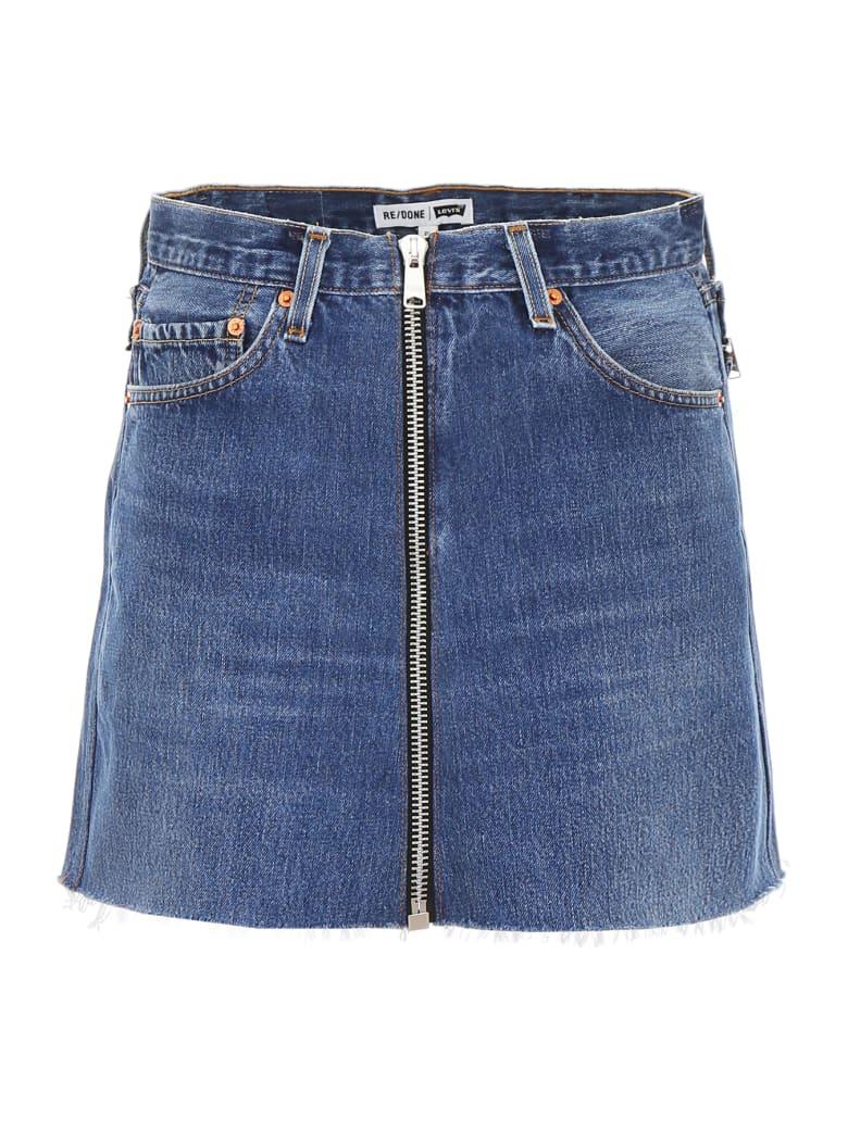 RE/DONE Reconstructed Denim Mini Skirt - INDIGO (Blue)