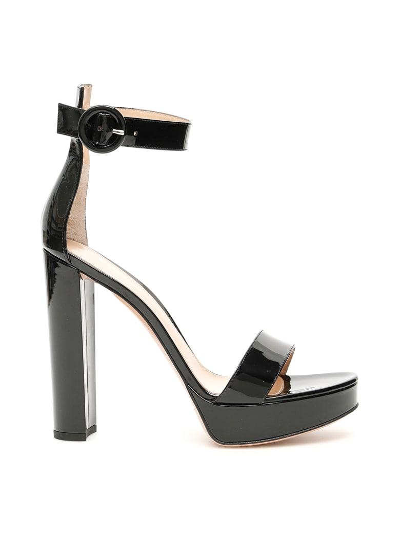 Gianvito Rossi Patent Portofino Sandals - BLACK (Black)
