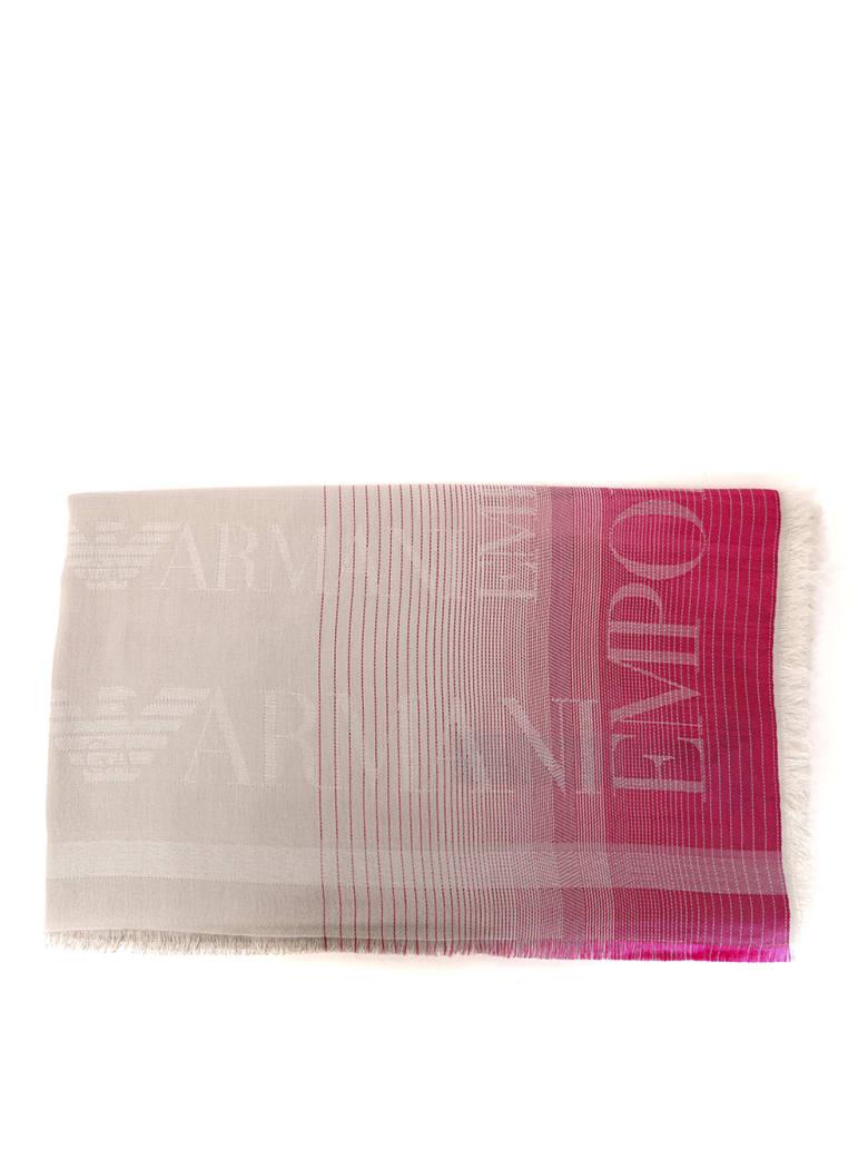 Emporio Armani Cotton Blend Scarf With Emporio Armani Logo - Beige/rose
