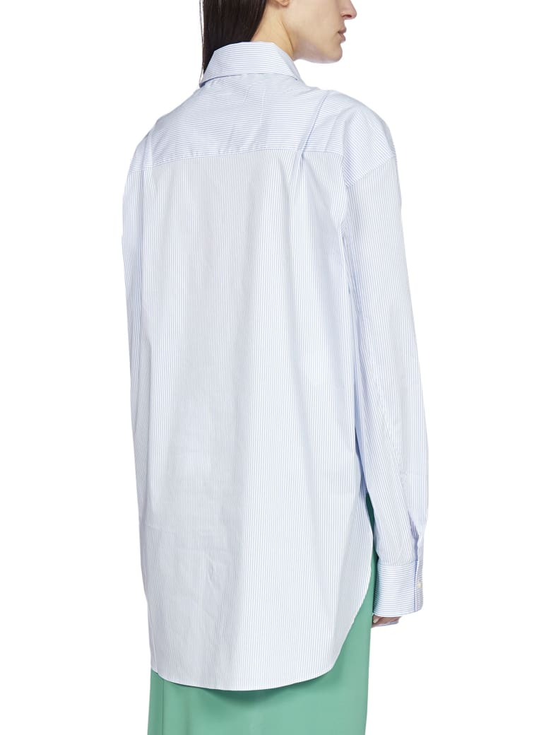 Andamane Georgiana Oversized Striped Cotton Shirt - Cielo_white