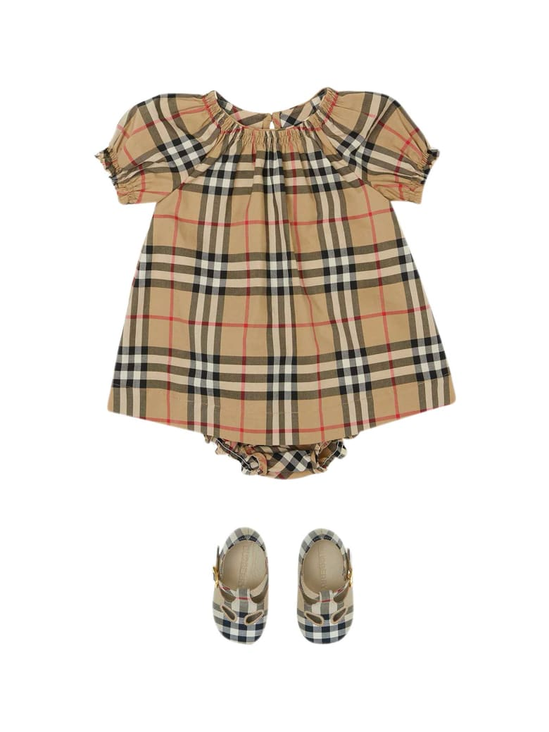 Burberry Vintage Check Print Dress - BROWN/BLACK