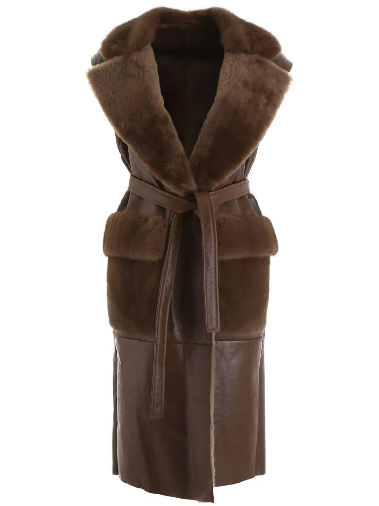 Blancha Long Vest - ARMY (Brown)