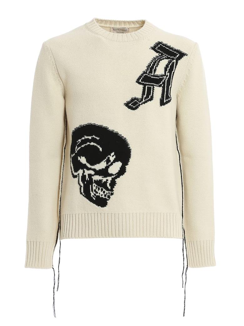 Alexander McQueen Crew Neck Pullover - Ivory/black