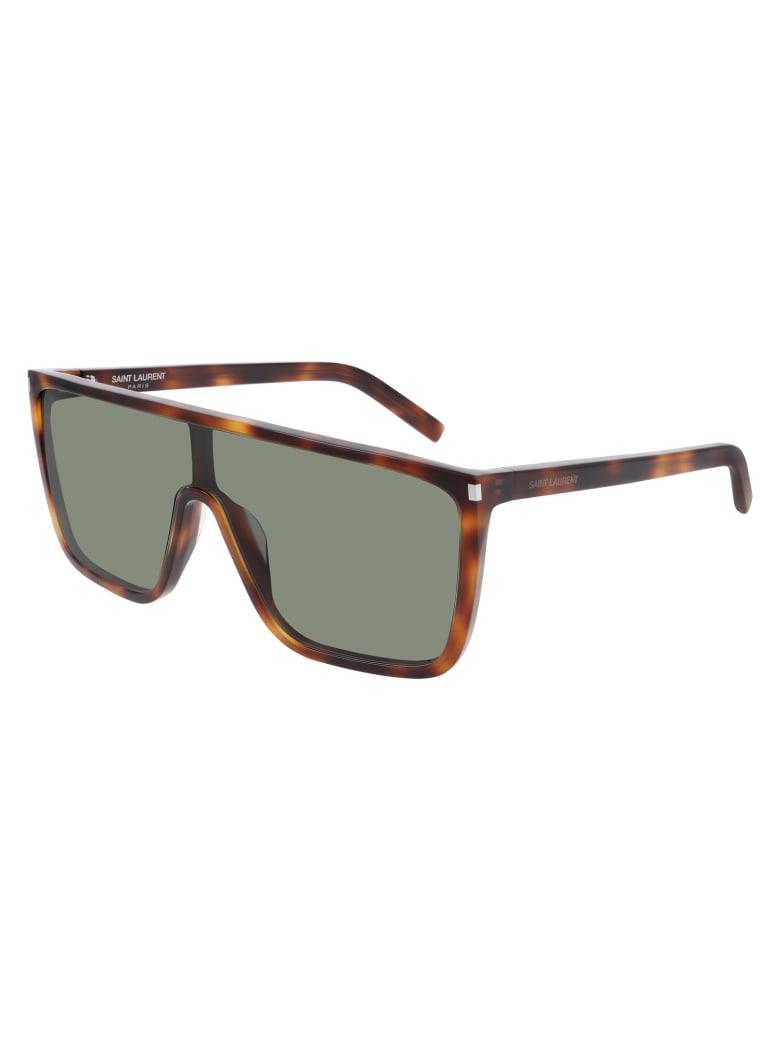 Saint Laurent SL 364 MASK ACE Sunglasses - Havana Havana Green