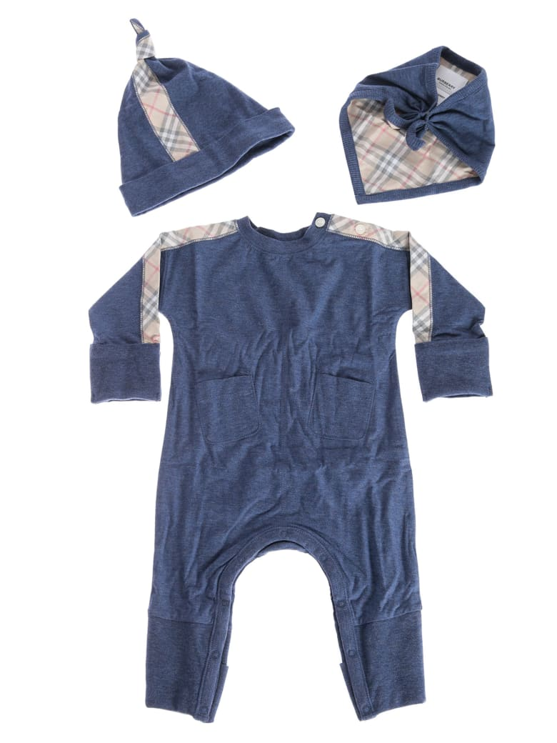 Burberry Checked Detail Rompers & Cap Set