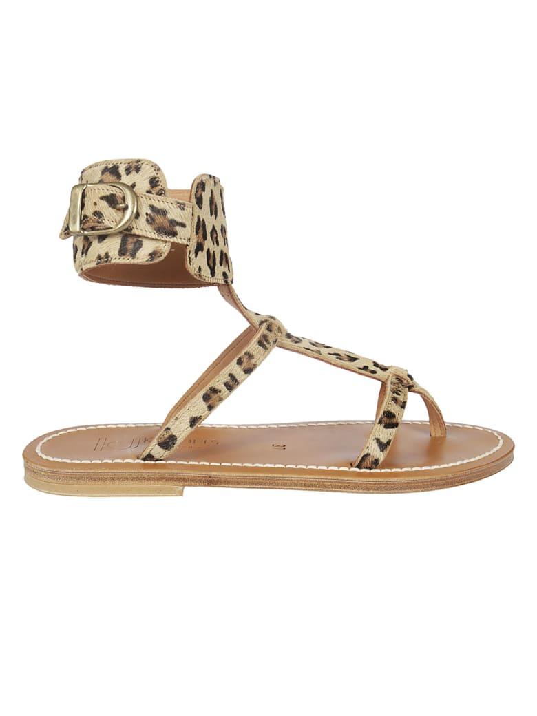 K.Jacques Leopard Print Sandals - Beige