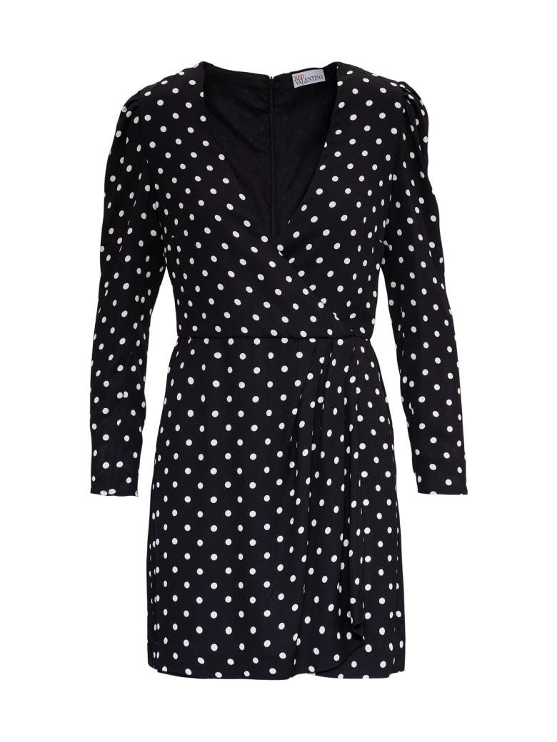 RED Valentino Polka Dots Pattern Dress In Crepe - Black