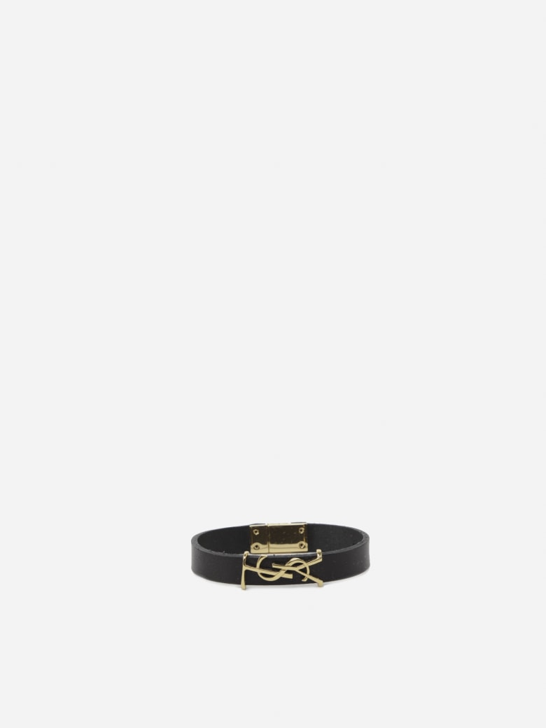 Saint Laurent Opyum Bracelet In Smooth Black Leather - Black