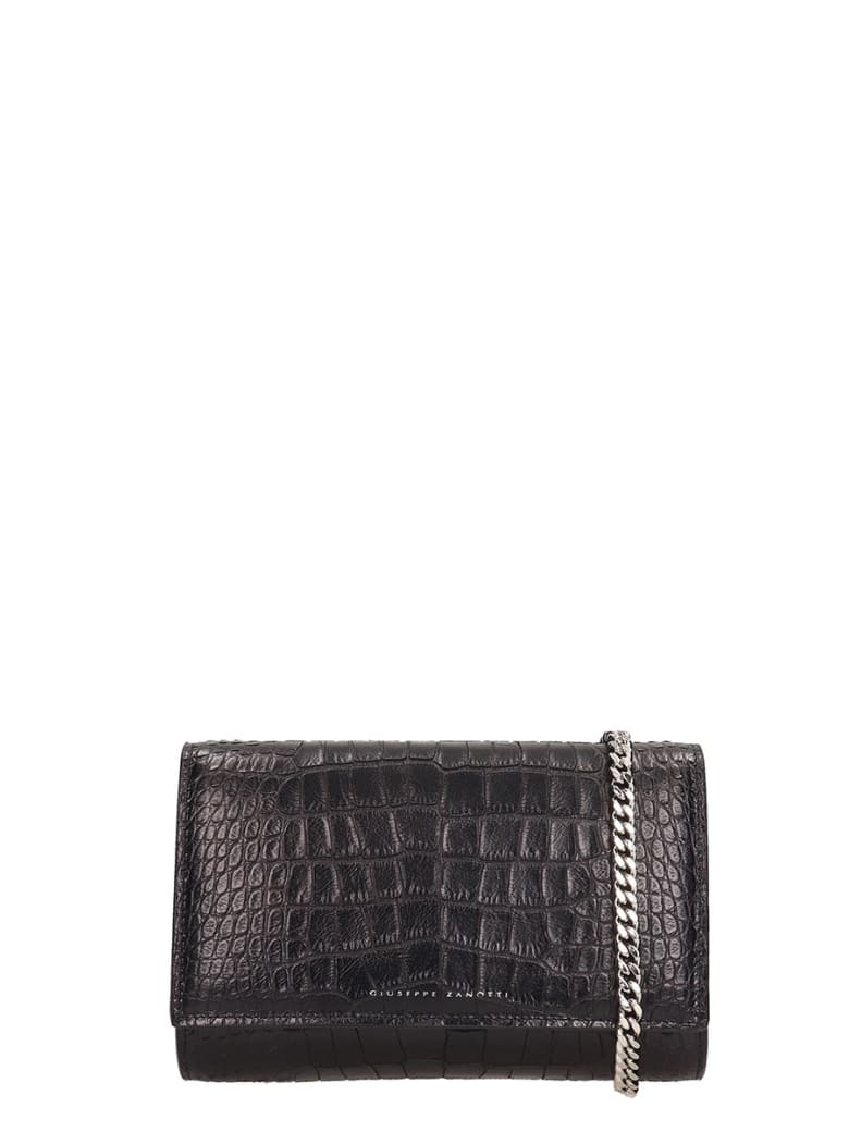 Giuseppe Zanotti Emilee Clutch In Black Leather And Printed Pyton - black