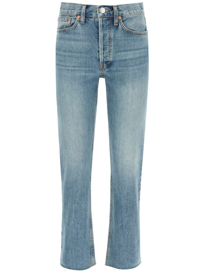 RE/DONE High Rise Stove Pipe Jeans - MEDIUM VAIN (Blue)