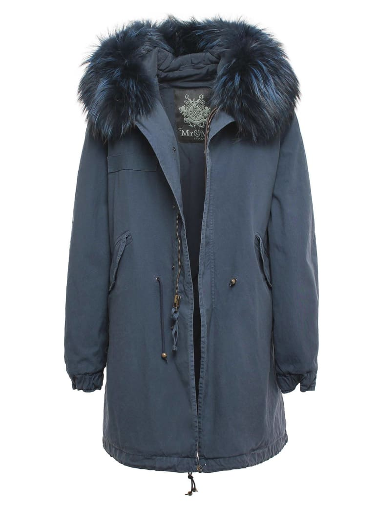 Mr & Mrs Italy Exclusive Fw20 Icon Parka: Night Blue Parka With Raccoon Fur - BLUE