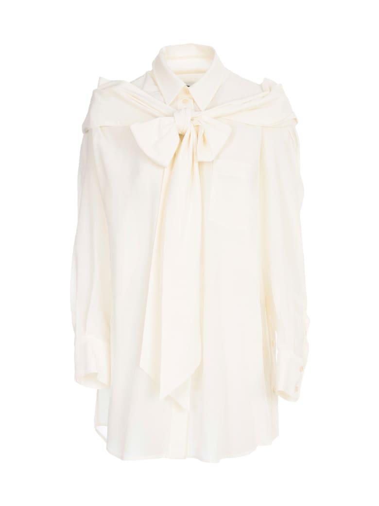 Simone Rocha Masculine Bow Shirt Silk - Cream