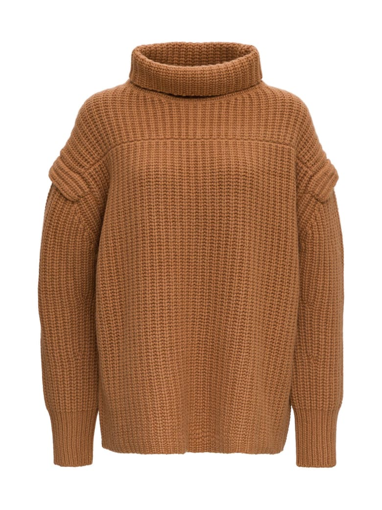 Loulou Studio Jumper With Funnel Neck And Dropped Shoulders - Beige