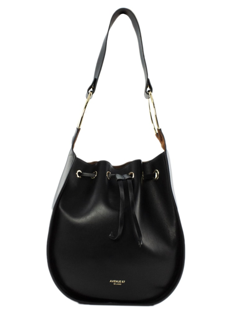 Avenue 67 Francis Black Leather Bucket - Nero