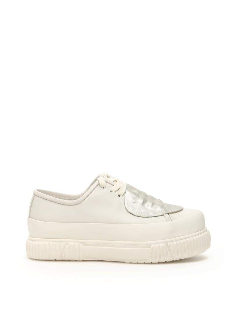 Both Classic Platform Shoes - WHITE GLITTER SILVER (White)
