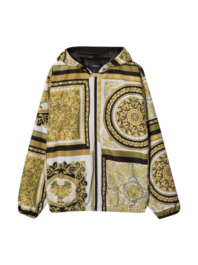 Young Versace Baroque Print Jacket - Bianco/oro/kaki