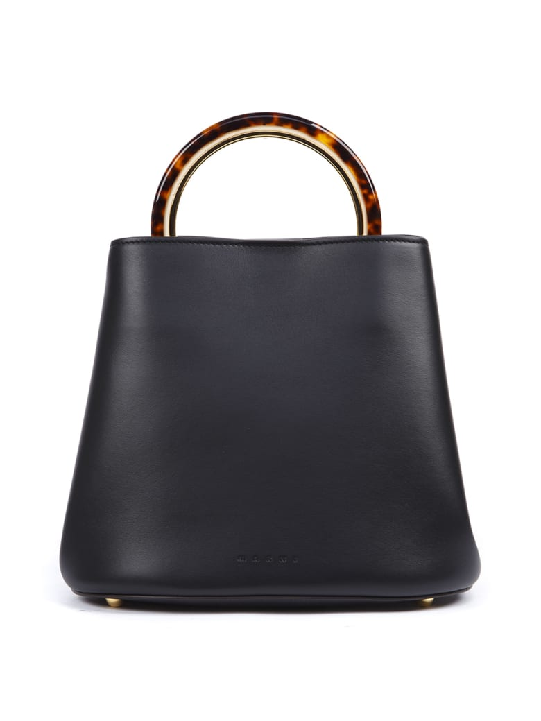 Marni Black Leather Pannier Bag - Black