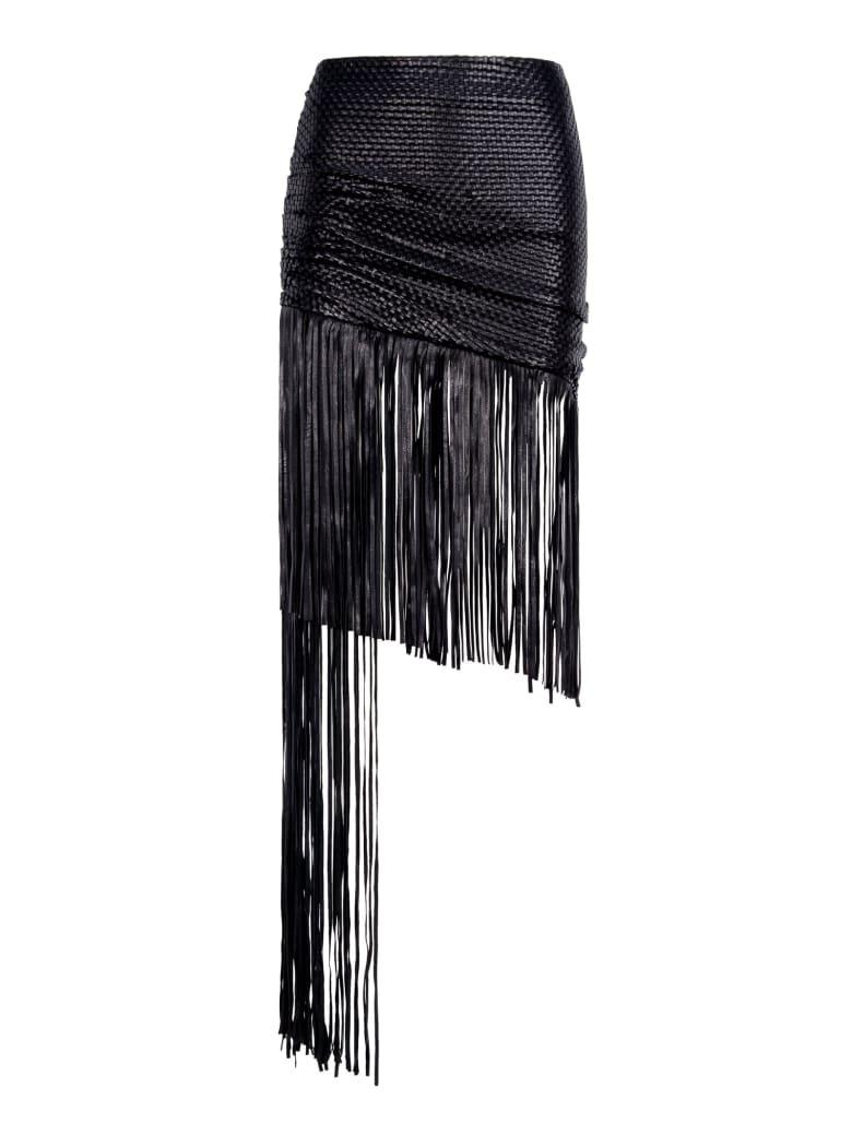 Magda Butrym Magda Butrym Asymmetric Fringed Skirt - BLACK