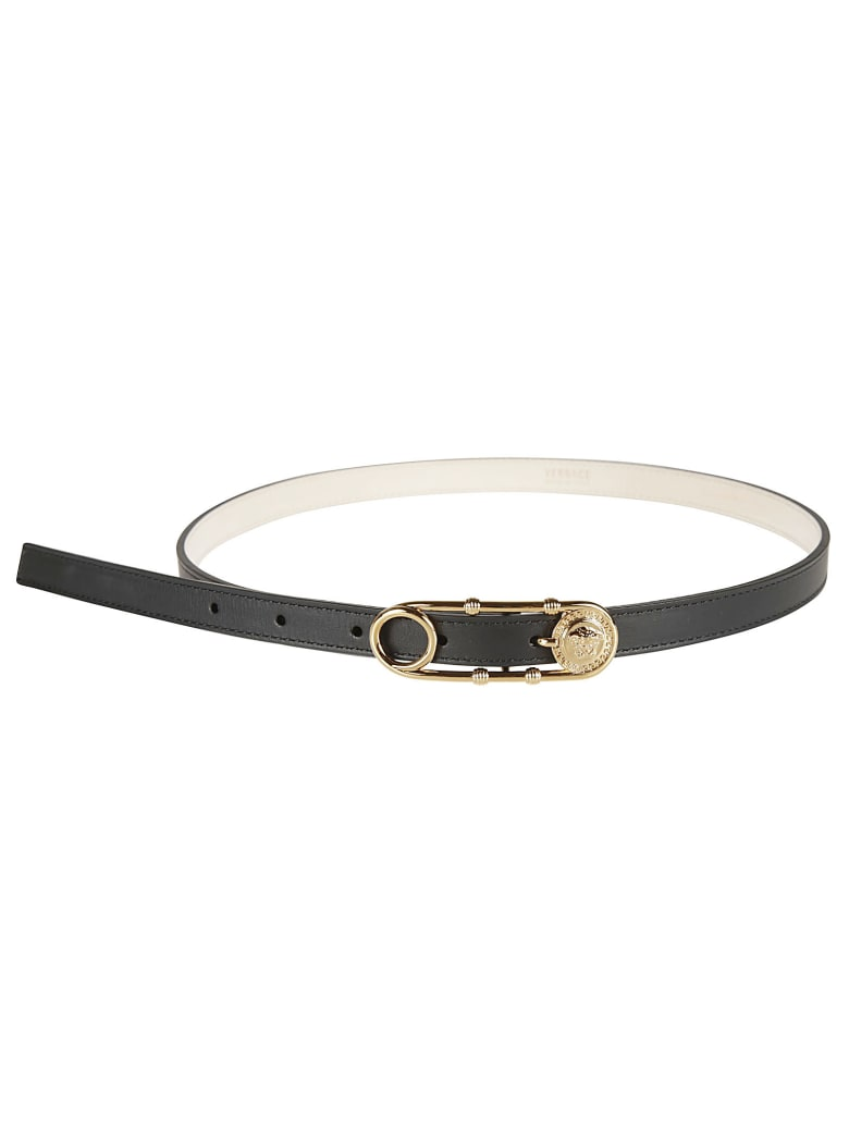 Versace Safety Pin Buckled Belt - Black/Gold