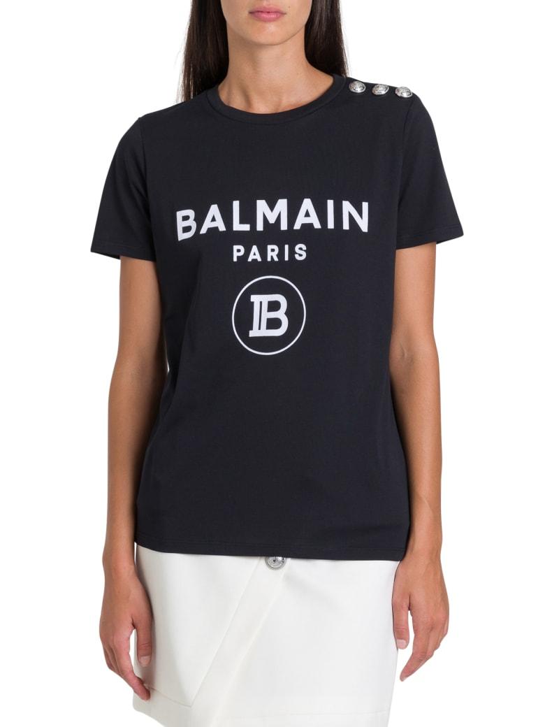 Balmain Logo & Buttons Tee - Nero/bianco