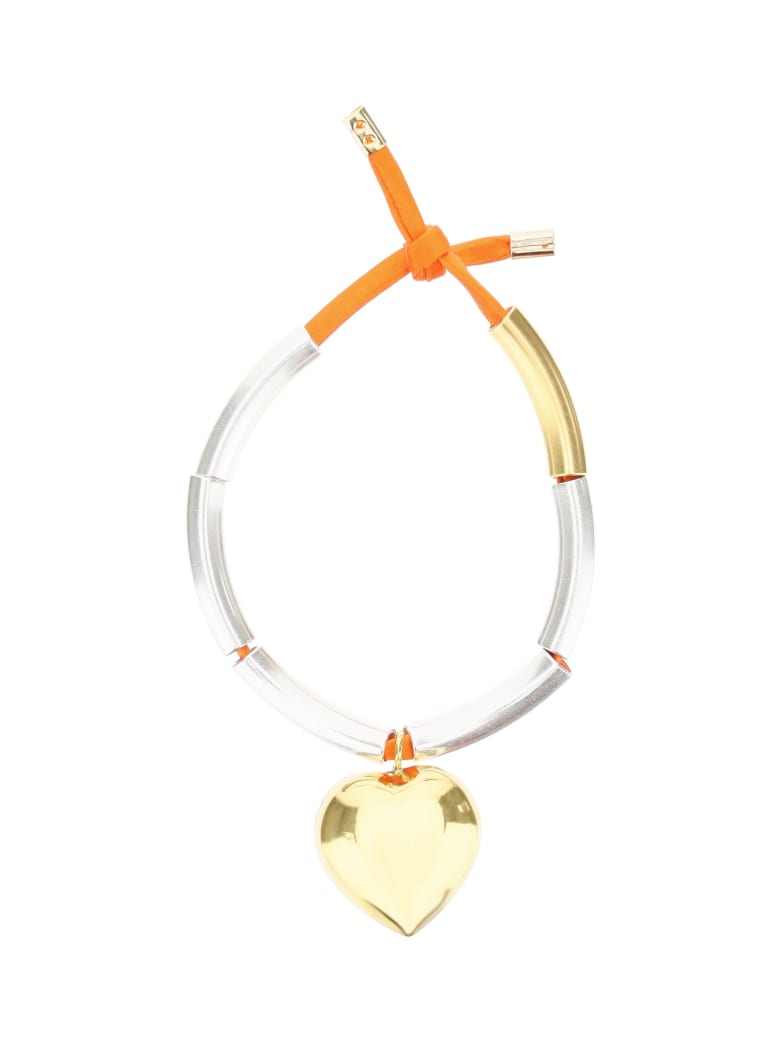 Timeless Pearly Bracelet With Heart - GOLD (Orange)