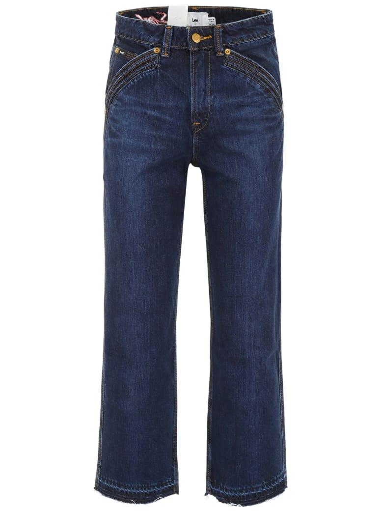 self-portrait Lee Cropped Jeans - DARK BLUE (Blue)