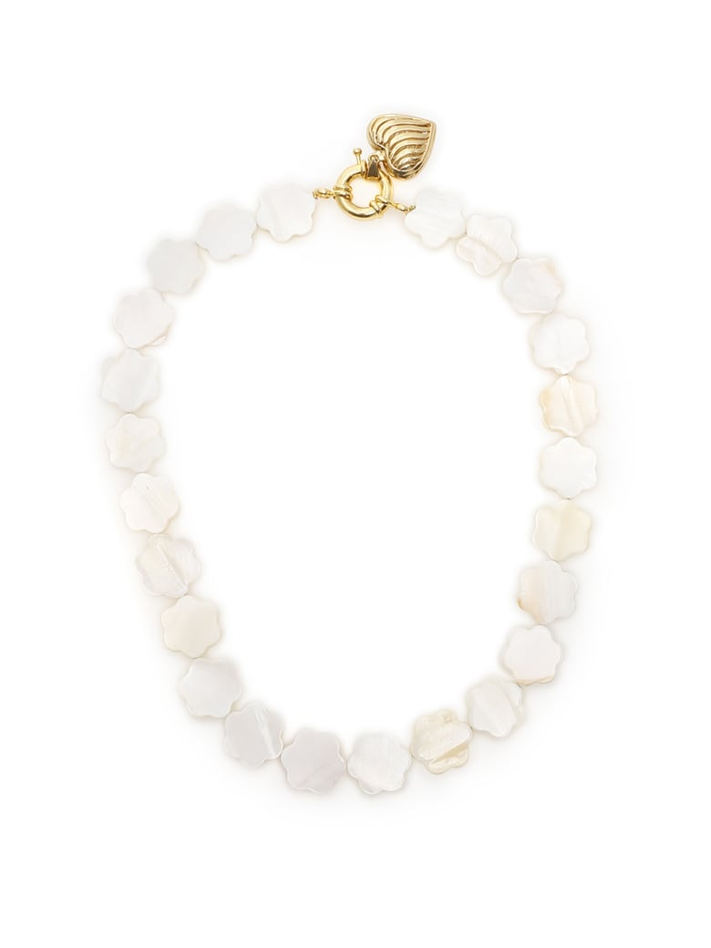 Timeless Pearly Mother-of-pearl Flower Necklace - VARIANTE ABBINATA (White)
