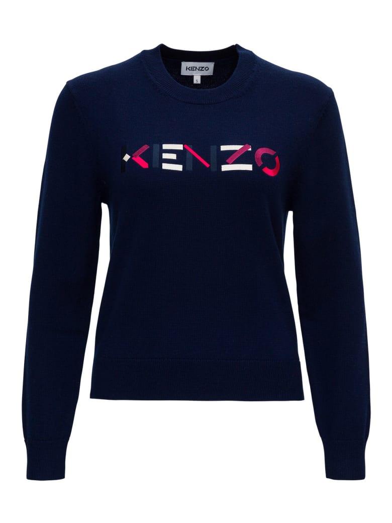Kenzo Wool Sweater With Logo - Blu