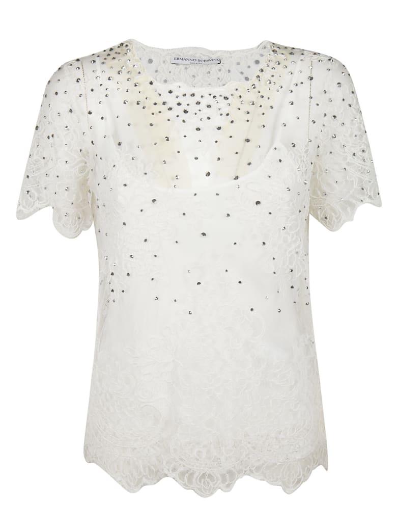 Ermanno Scervino Embellished Top - white